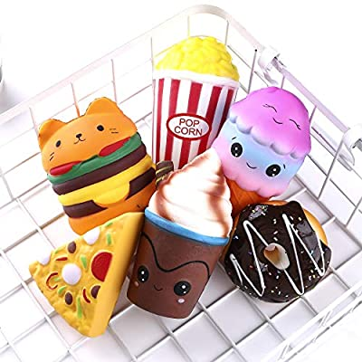 KINGYAO 6pcs Slow Rising squishies Squishy Toys Jumbo squishies, Hamburger Popcorn Cake Ice Cream Pizza Kawaii Squishy Toys or Stress Relief Squeeze Toys Party Favors for Kids Adults Decorative Props: Toys & Games