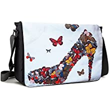 Meffort Inc 17 17.3 Inch Laptop / Notebook Padded Compartment Shoulder Messenger Bag with Shoulder Pad - Butterfly High Heel