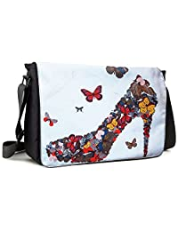 Meffort Inc 15 15.6 Inch Laptop / Notebook Padded Compartment Shoulder Messenger Bag - Butterfly High Heel