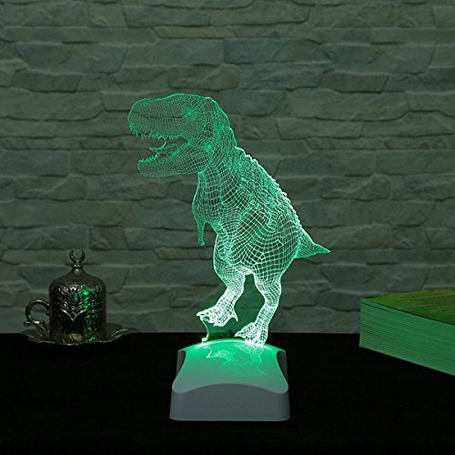 LaModaHome Jurassic Hologram Table Lamp - Old Big Animal Friend T-Rex, 100% Plexiglass, Size (9.1'' x 10.6'') 3D Illusion Minimalist Solid Bedside Table Lamp for Living Room, Bedroom, Kids Room by LaModaHome (Image #4)