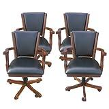 Hathaway Poker Table Arm Chair (Set of 4), Walnut