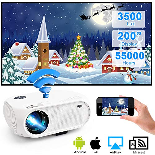 WiFi Projector 3500Lux Weton Wireless Portable Mini Projector LED Video Projector 200″ Display Home Movie Projector, Compatible with Smartphones,TV Stick, PS4, Support 1080P HD,USB, HDMI, VGA, AV, SD