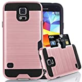 Jwest Samsung Galaxy S5 / S5 Neo Wallet Case with ID Card Slot Holder Rugged Rubber Heavy Duty Shock Absorbent Armor Hybrid Defender Shock Proof Case Cover Skin for for Galaxy S5/S5 Neo - Rose Gold
