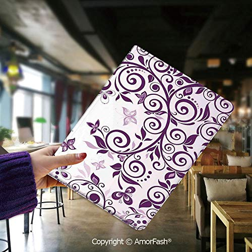 Cover for Samsung Tab E,flip Cover for Samsung Galaxy Tab E 9.6 Cases and Covers,Mauve Decor,Classic Twiggy French Style Lilium Floral Branch Lovely Swirls Decor,Violet