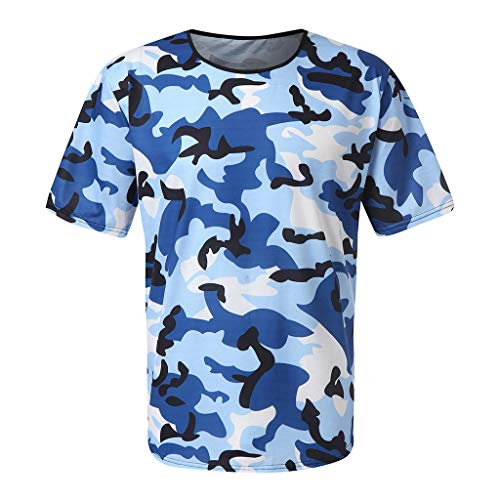 Tee Camo Outline - Men's Summer T-Shirt, JOYFEEL  Fashion Camouflage Elastic Blouse Slim Fit Crewneck Fitness Workout Tee Tops