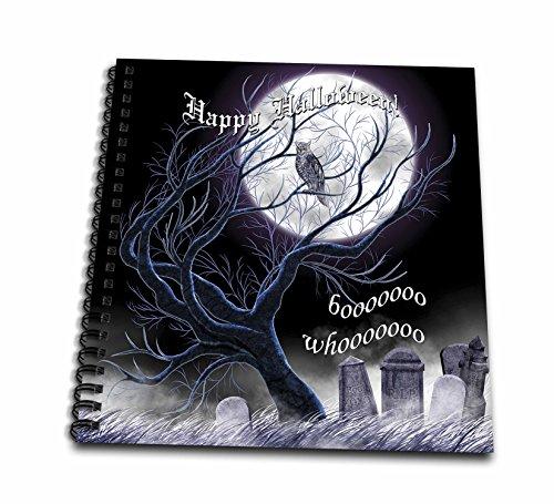3dRose Dream Essence Designs-Holidays Halloween - Halloween scene of oak tree, owl and graveyard under the full moon. - Drawing Book 8 x 8 inch (db_266099_1)
