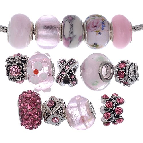 (RUBYCA Murano Lampwork Charm Glass Beads Tibetan Crystal European Bracelet Mix Assortment Pink 15Pcs)