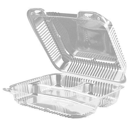 """9"""" x 9 7/16"""" x 3"""" Clear Plastic 3 Compartment Lunch Box H..."""