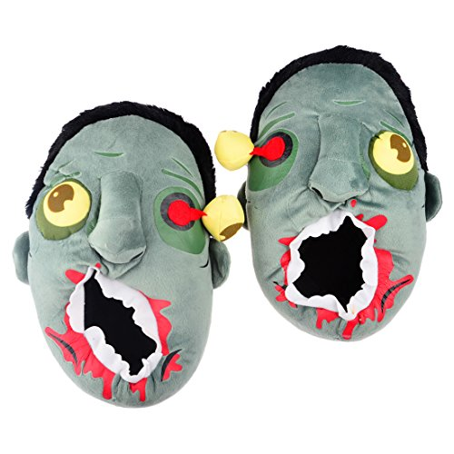 Price comparison product image Slipper, WOLFBUSH Unisex Halloween Wacky Soft Baggy Zombie Head Warm Couple Plush Cotton House Slippers