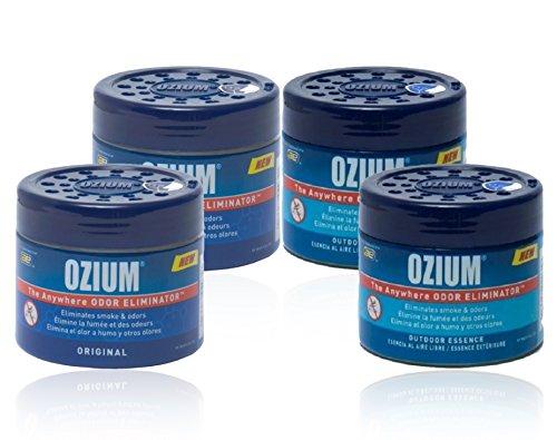 Ozium Smoke & Odors Eliminator Gel. Home, Office and Car Air Freshener 4.5oz (127g), (Pack of 4) (2-Outdoor Essence & 2-Original)