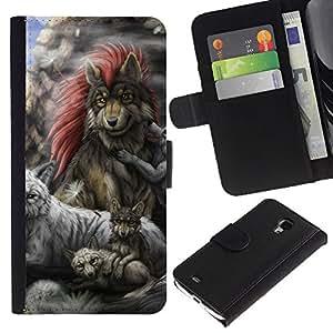 Stuss Case / Funda Carcasa PU de Cuero - Gray Wolf Family - Samsung Galaxy S4 Mini i9190
