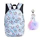 Unicorn Backpack Lightweight Kids School for Girls with Headbands or Keychain