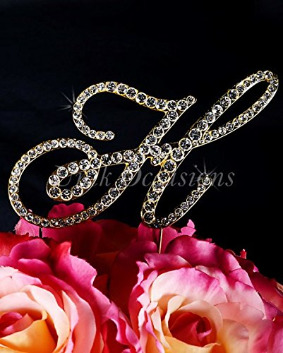 Unik Occasions Victorian Rhinestone Wedding Cake Topper Letter H44; Gold44; Large by Unik Occasions (Image #1)