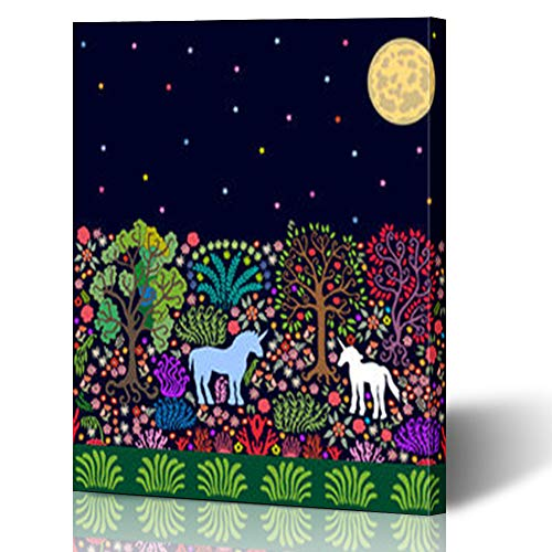 Aika Designs Canvas Prints Wall Art Nouveau Fantasy Night Magic Forest Blossom Unicorns Unicorn Parks Outdoor Border 12 x 16 Inches Modern Painting Decor Stretched Wooden Framed Wrapped Artwork