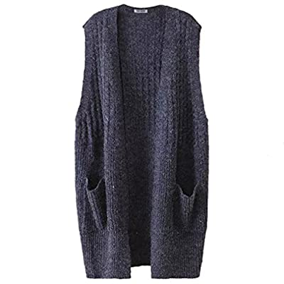 Najia Symbol Womens Sleeveless Open-front Knitted Long Cardigan Vest Showomen339