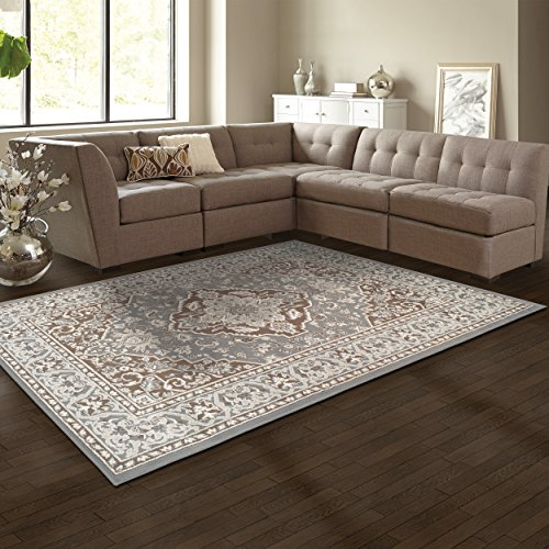 Superior Elegant Glendale Collection Area Rug, 8mm Pile Height with Jute Backing, Traditional Oriental Rug Design, Anti-Static, Water-Repellent Rugs - Grey, 8' x 10' Rug ()