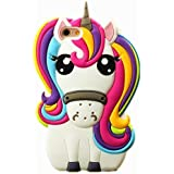 Cute 3D Cartoon Lovely Animal Design Soft Silicone Back Case Cover for iPhone 5 5G 5S SE (rainbow unicorn)