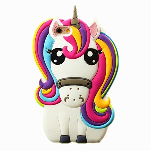 RAYTOP 3D Cartoon Unicorn Silicone Case for Apple iPhone 5 / iPhone 5S / iPhone SE Multi Color Unicorn Cute and Protective for Kids Teens Girls