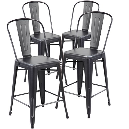 26 Inch Industrial Distressed Metal Counter Height Bar Stools with Backs Set of 4 Vintage Tolix Cafe Chairs Antique Black Silver - French Back Bar Stool