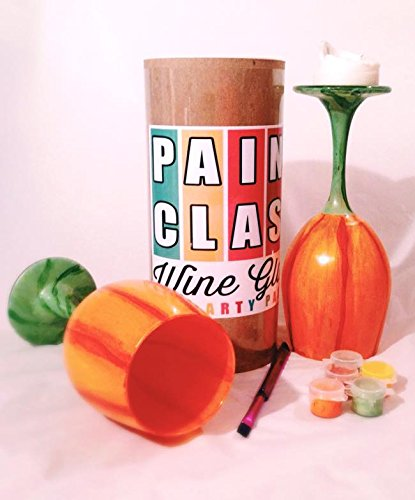 DIY Paint a Pumpkin Wine Glass and Candle Holder Kit