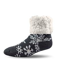 Pudus Unisex Classic Slipper Socks, Adult, Snowflake Grey