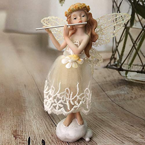 LWKBE Collectible Figurine a Angel Playing The Flute - Handmade Resin Statue 6.7 inches Tall,Unique Gift for Christmas Birthday Thanksgiving Day, Home Decor ()