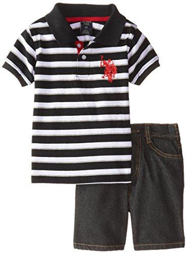 U.S. Polo Assn. Little Boys' Jersey Striped Polo and Denim Short, Black, 3T