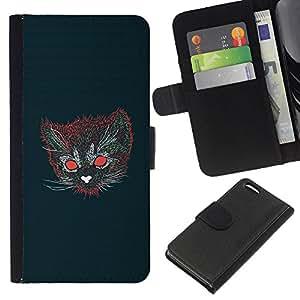 KLONGSHOP // Tirón de la caja Cartera de cuero con ranuras para tarjetas - Gato psicodélico - Apple Iphone 5C //