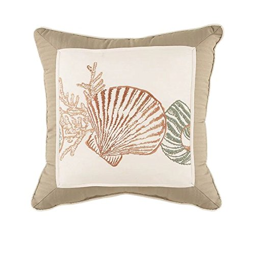Croscill Shells (Seashore Throw Pillow with Embroidered Sea Shells Pattern)