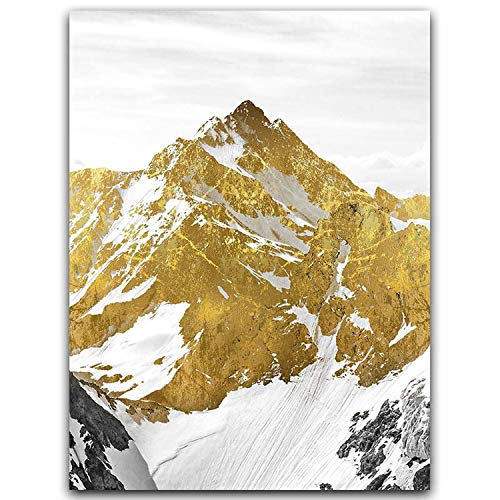 3PCS Golden Snow Mountain Golden Mountain Abstract Wall Art Print Canvas Painting Decorative Picture for Home Decor Poster,25x35cm No Frame,OT283-2
