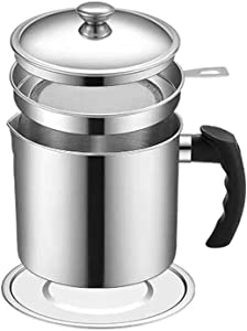 Bacon Grease Container Stainless Steel 1.3 L/5.2 Cups Oil Grease Can Food Strainer, Oil Storage Can Container with Fine Mesh Strainer, Lid and Coaster Tray for Storing Fat, Frying Oil, Cooking Grease