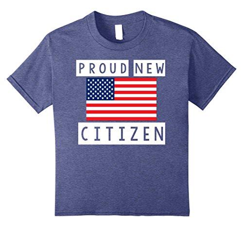 Kids Proud New American Citizen Shirt US Citizenship Gift T-Shirt 10 Heather Blue (Citizenship Gift Ideas)
