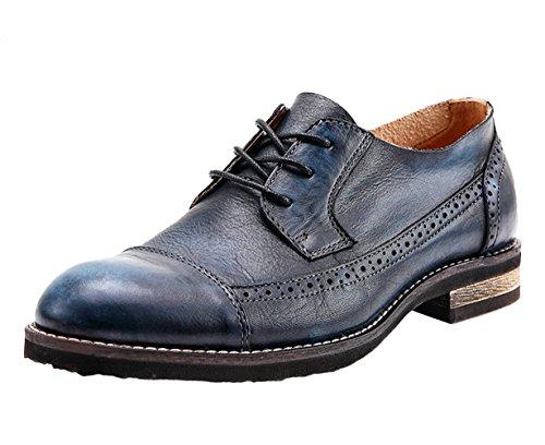 Scarpe Stringate Oxford In Pelle Vintage Uomo Blu