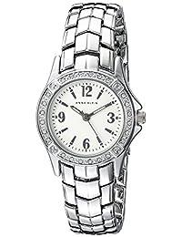 Anne Klein Women's AK/2101SVSV Swarovski Crystal Accented Silver-Tone Bracelet Watch
