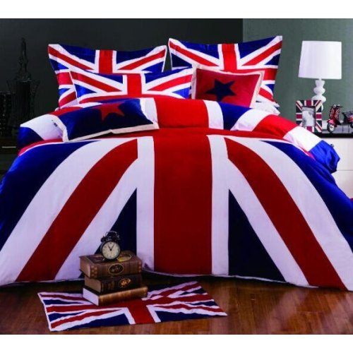 Lightinthebox UK Flag Duvet Cover Set Bedding Set Queen Size 4 Pieces (1pc Flat Sheet, 2pcs Shams, 1pc Duvet Cover) Cotton (Queen) - Flag Comforter Set