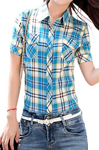 Lasher Women's Cotton V Neck Short Sleeve Plaid Shirt Button-up Shirts Blue L ()