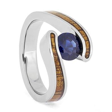 Amazon.com: Anillo de boda con zafiro azul, madera de koa de ...