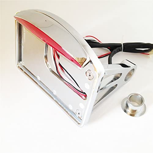 Chrome Side Mounted Flat License Plate Bracket w//Led Tail Light Brake Light 1 Axles For Compatible with Harley Davidson Dyna Glide Fat Bob Street Bob XL 883 Hugger Sportster NBX