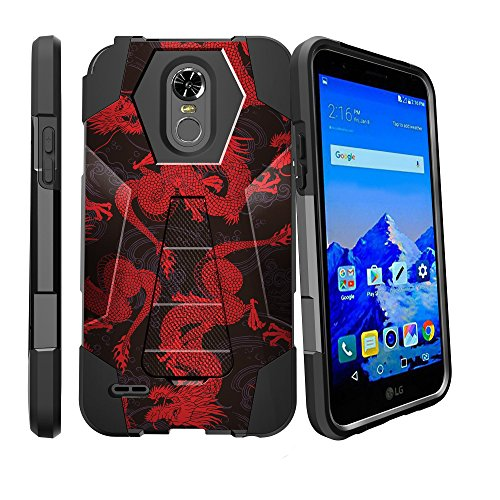Case for Stylo 3 Plus, LG Stylo 3 Dragon Case [SHOCK FUSION] Rugged Protection Cover Shockproof Hybrid Case with Kickstand by Miniturtle - Red Black - 3 Designer Dragon