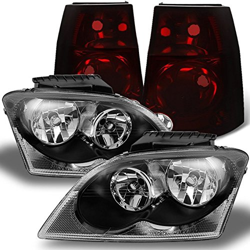 For Chrysler Pacifica Black Headlights Headlamps Repalcement Pair + Dark Red Tail Lights Combo Pair Set