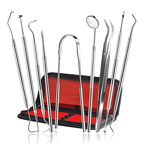 Dental Pick Tools, Terresa Newest 9 Pack Professional Stainless Steel Dental Scaler Hygiene Kit, Plaque Calculus Remover and Dentist-Approved Tooth Picks Set Use for Personal or Pet Oral Care