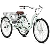 Adult Schwinn Tricycle Three (3) Wheeled Trike Men's Women's Bicycle Red Mint Green Blue Silver Grey Bike with Metal Wire Shopping Basket Beach Cruiser