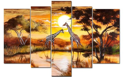 Sangu 100% Hand Painted Wood Framed Giraffe Meeting in Middle Africa Home Decoration Paintings For Living Room Gift on Canvas 5-piece Art Wall Decor