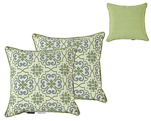 Bossima Indoor/Outdoor GREEN/GREY DAMASK/PIEBALD Square Toss Pillow, Corded Cushion Set of 2