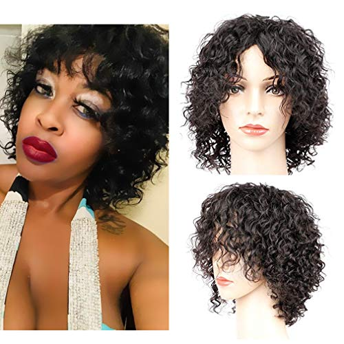 Goldfinch Short Curly Human Hair Wigs with Bangs Kinky Curly Short Wigs for Black Women Machine Made Human Hair Wigs Black Color 8 inches + Wig Cap