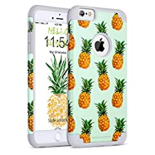 """iPhone 6 Plus Case, iPhone 6S Plus Case, BENTOBEN iPhone 6/6S Plus Pineapple 2 in 1 Slim Hybrid Hard PC Back Silicone Bumper Cover Drop Proof Anti-slip Scratch Resistant Protective Case for iPhone 6 Plus/iPhone 6S Plus 5.5"""" – Green/Grey"""