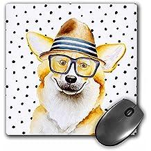 3dRose Uta Naumann Watercolor Illustration Animal - Cute Funny Dog Illustration on Polkadots- Welsh Corgi Pembroke - MousePad (mp_275102_1)