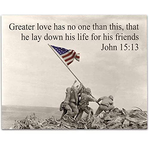Amazon Com Greater Love Raising The Flag On Iwo Jima 11x14 Unframed Art Print Perfect Decor And Gift For Military Veterans And Patriots Under 15 Handmade