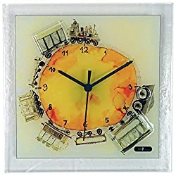 River City Clocks Square Glass Art Clock with Train