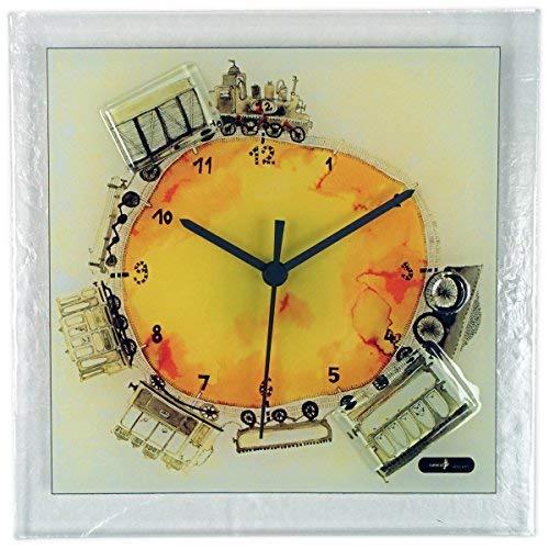River City Clocks Square Glass Art Clock with Train